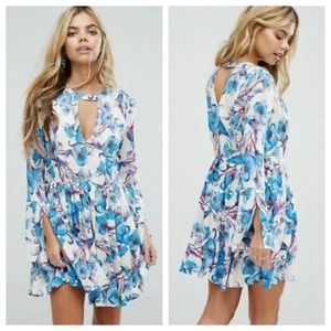 NWT Free People Tegan Floral Cut-Out L/S Dress